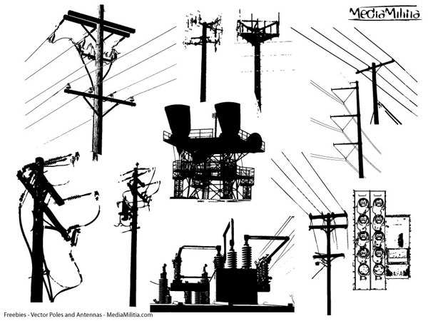 antenna and electrical pole pack  u2013 11 free vectors
