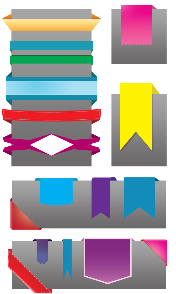 3D elements ribbons banners
