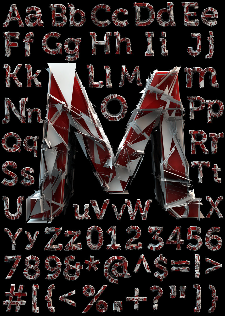 Broken Looking Font 3D