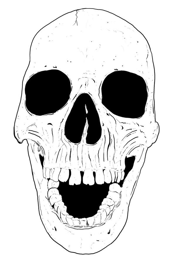 Hand Drawn Skull 1B
