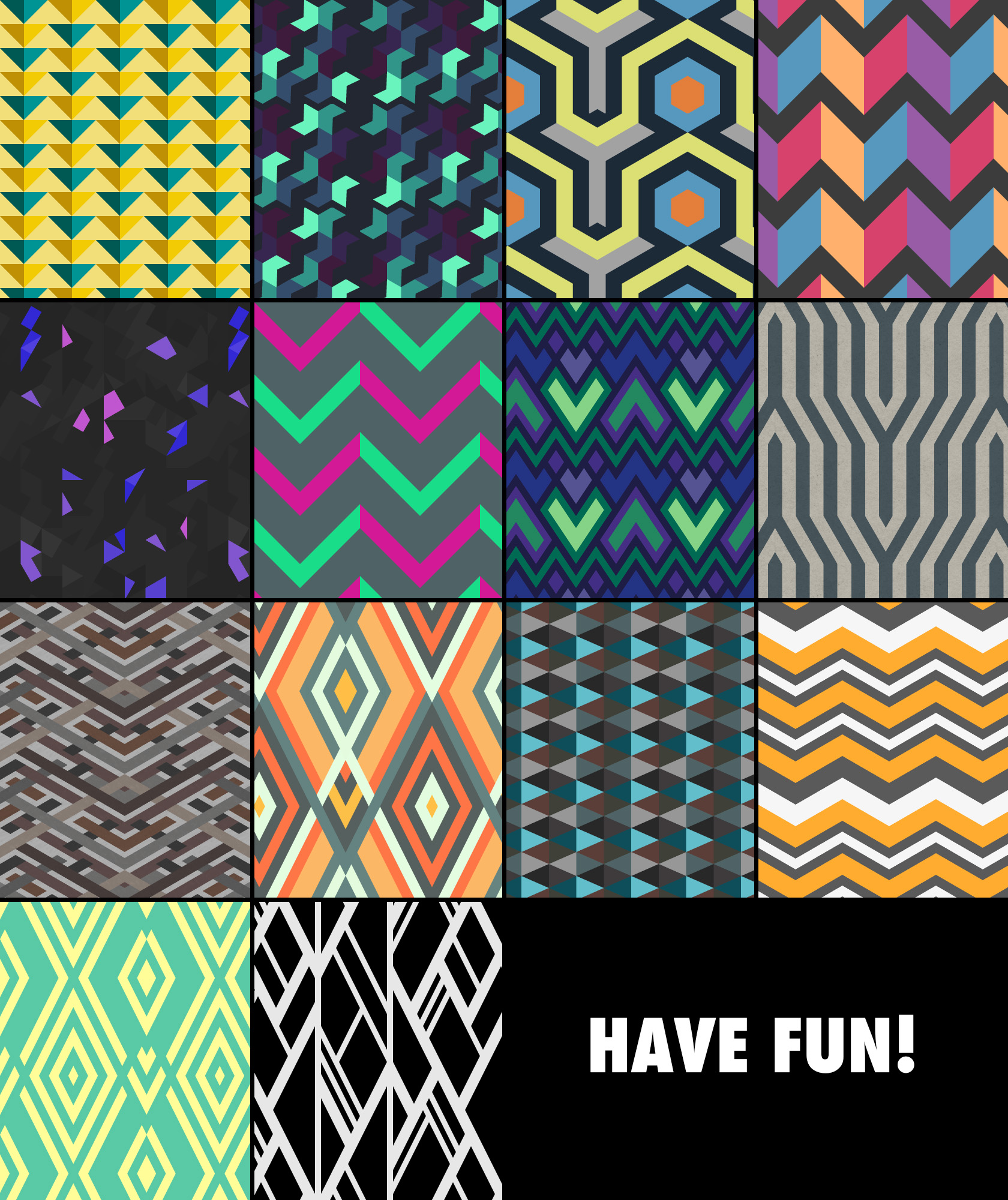 Free geometric tiling textile patterns